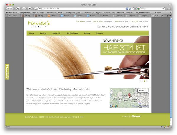 Marika 39 S Hair Salon Website On Behance