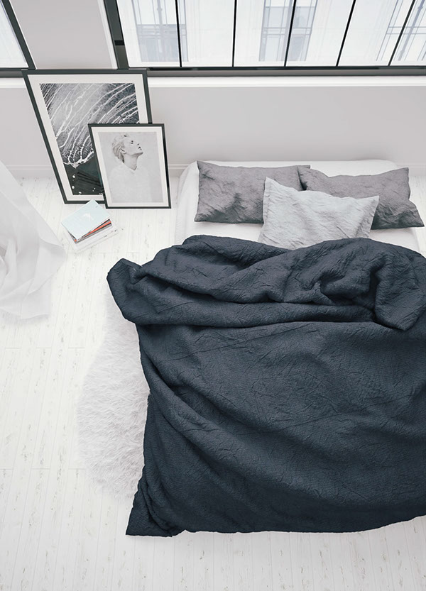 dormitorio, minimalista, gris, decoración nórdica, dekoloop