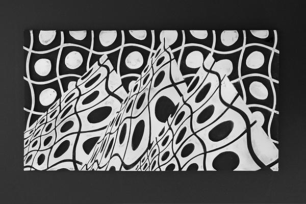 wall art ceramic tile hand made tile bas relief ceramics  sculpture slab build basrelief clay earthenware geometry op art Marek Jacisin Harvard Ceramics Arts at Harvard