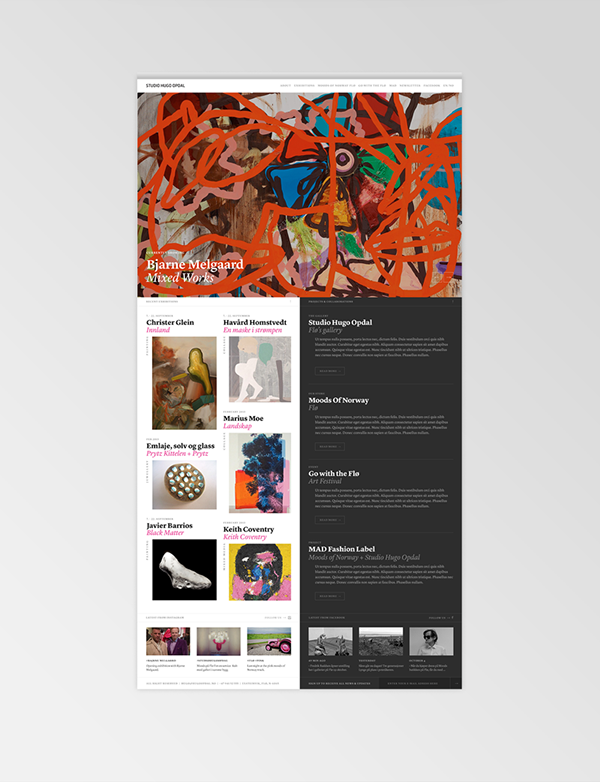 Web art gallery UI ux