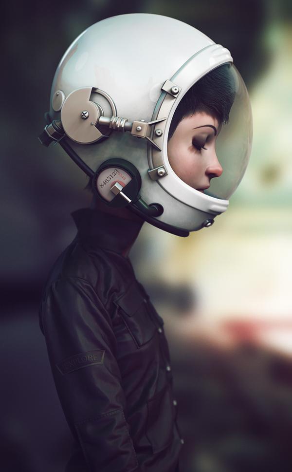 Space  cadet Marco nogueira Helmet astronaut girl