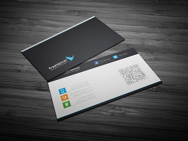 black blue business card clean color company corporate creative design horizontal modern personal print psd