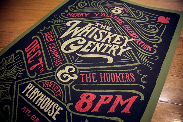 atlanta Georgia GigPoster thewhiskeygentry concert poster handletter handtype screenprint Holiday country varietyplayhouse