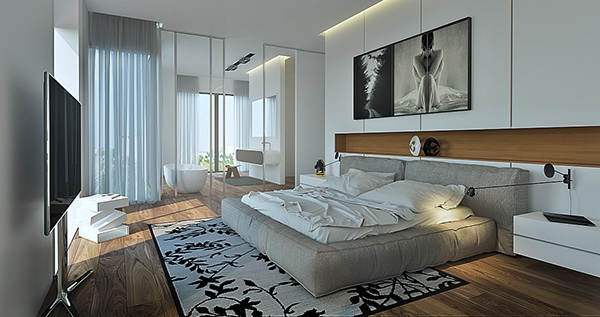 white interior contemporary modern 3d max corona
