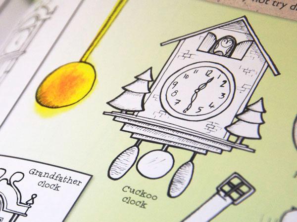 Illustrated cuckoo clock by illustrator Fiona Gowen
