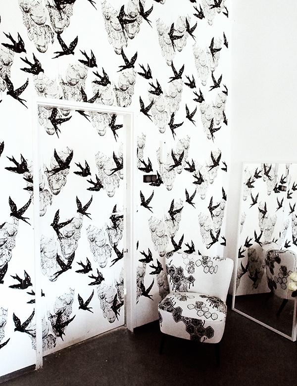 hand printed wallpaper  Swallows / Hand screen printed Wallpaper on Behance