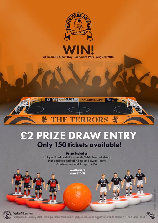 Competition FlickForKicks Subbuteo poster ArabTrust football Dundee United