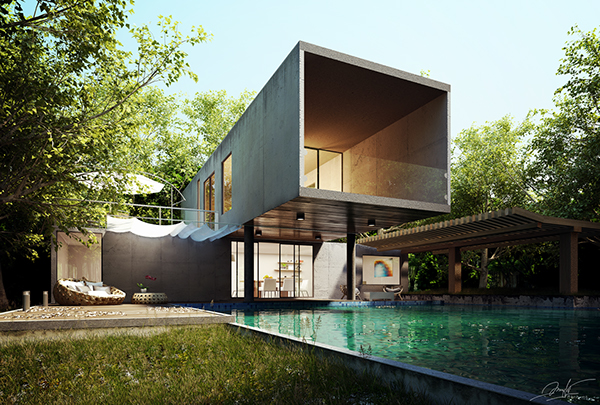 [3DS Max Training] Forest Modern House On Behance
