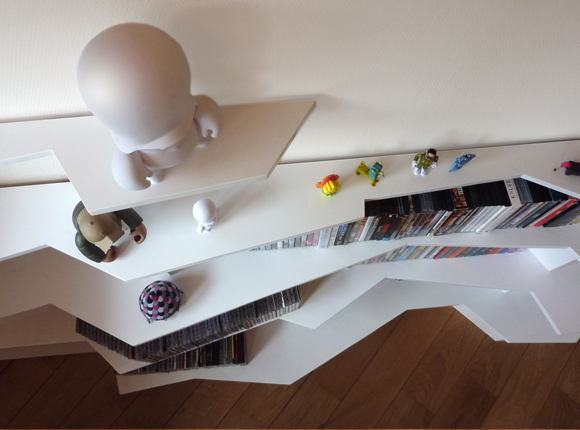 Monkey Rock Lijmbach Leeuw vormgeving product dutch eindhoven DVD cd blue ray storage Landscape contour lines material mdf furniture Interior wood White color colour detail designer toy toy shelves Angles rock monkey mountain cupboard