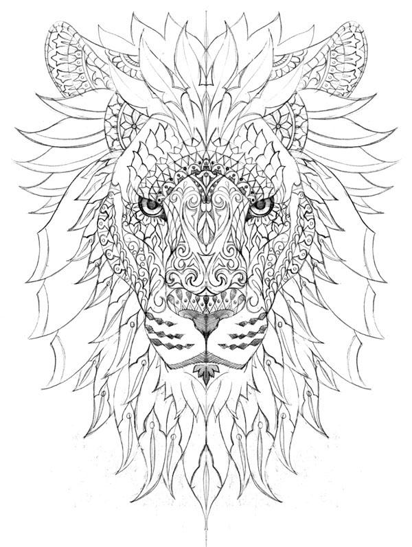 картинки лев черно белые антистресс