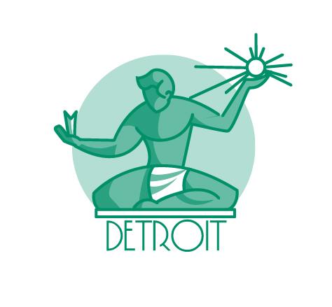 Icon detroit Landmark Michigan line
