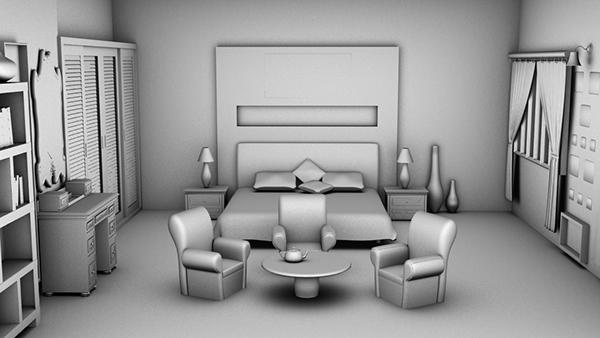 Interior bedroom 3ds max on behance for Interior design bedroom 3d max