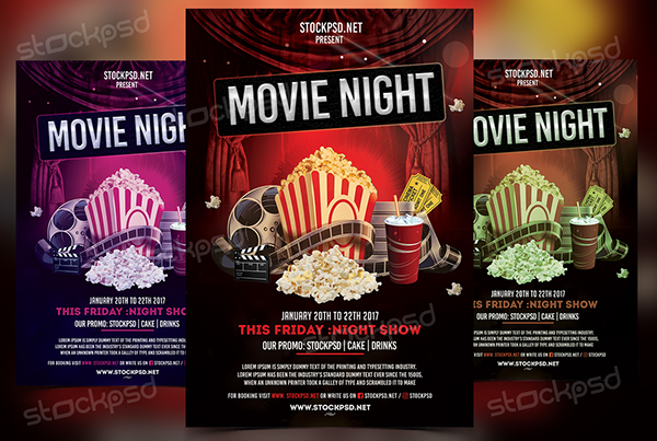 Movie Night - Free PSD Flyer Template on Behance