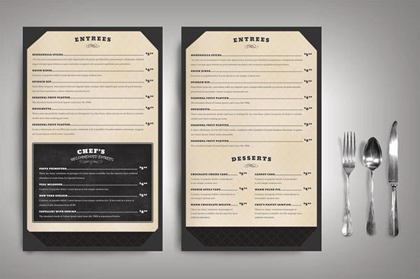 Restaurant menu classic on behance