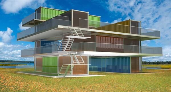 R am nagement d 39 un container en habitation on behance for Immeuble en container