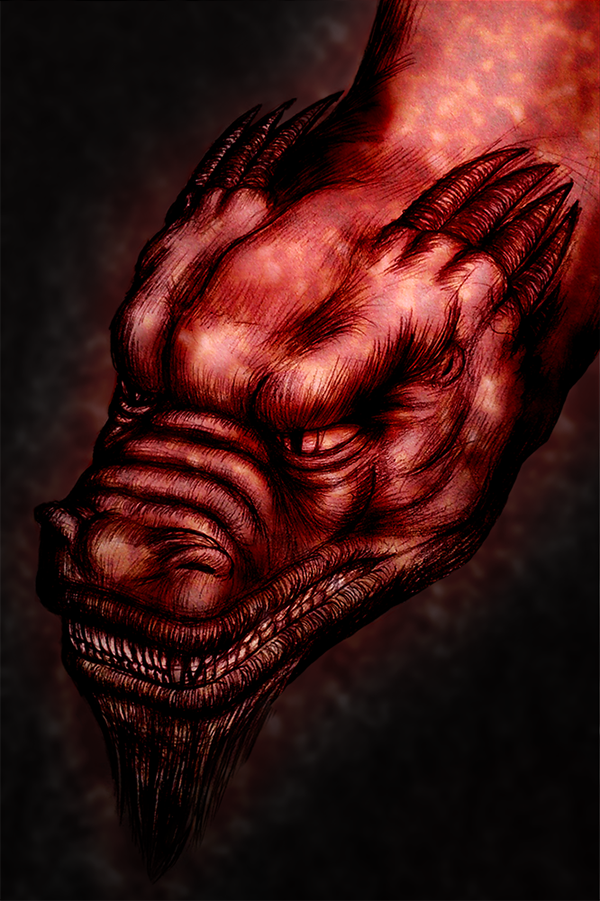dragon sketch pencil Hot red coloring glow mixed media tattoo design