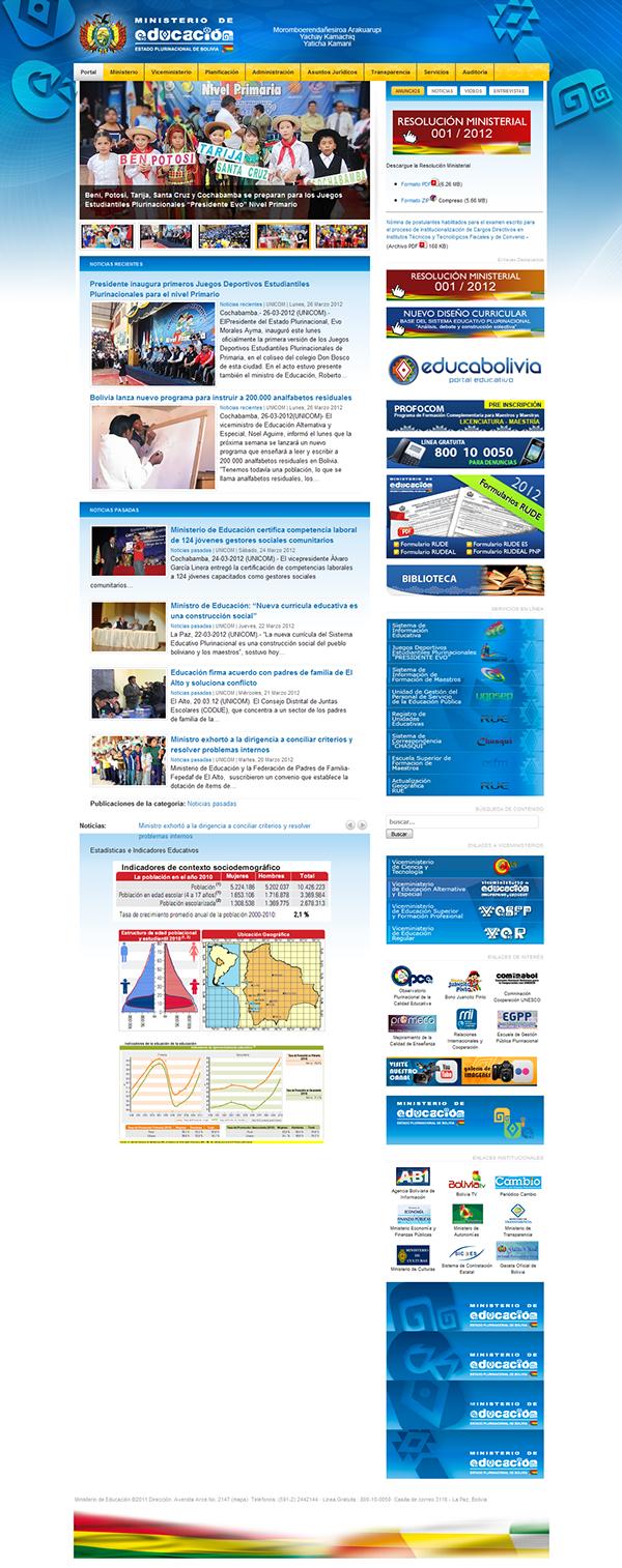 Portal Web institucional del Ministerio de Educación del Estado