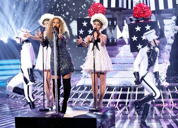xfactor x-factor uk Leona Lewis Christmas costume christmas Tree gift box song Fun Helmet disco shiny Show