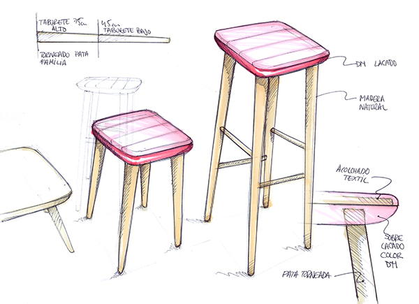 Balea stool taburete balea on furniture served for Taburete dwg