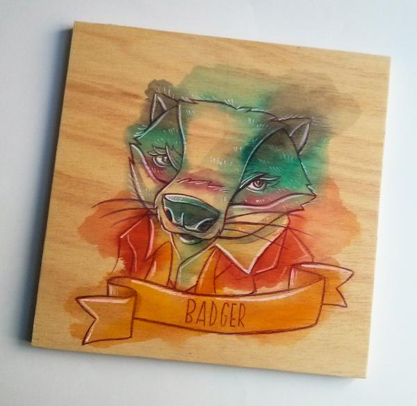 Fantastic Mr Fox wes anderson badger movie wood watercolors FOX