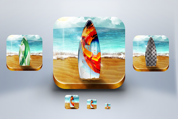 Surf  sea  ocean  sand  Beach  iOS  icon