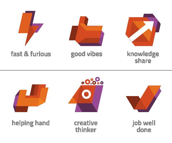 Icon Ilustração flat design app purple orange depth motivational