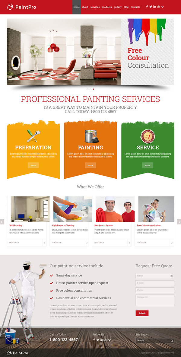 painting company responsive wordpress template on behance. Black Bedroom Furniture Sets. Home Design Ideas