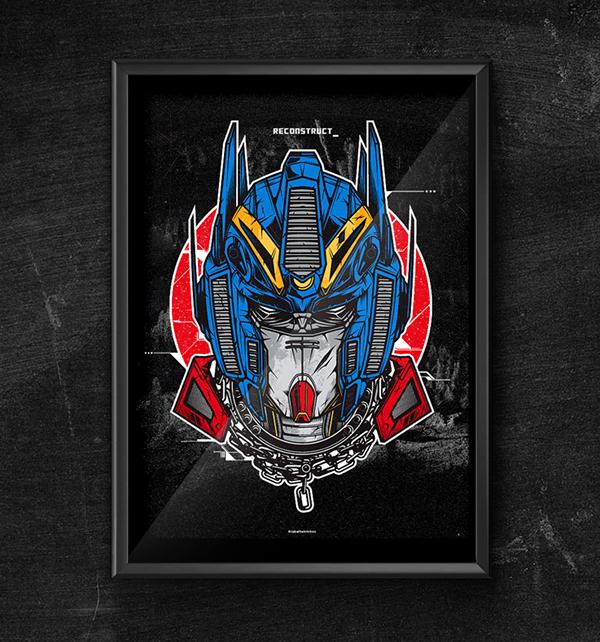transformer optimus prime vector hybrid robot Gundam mech