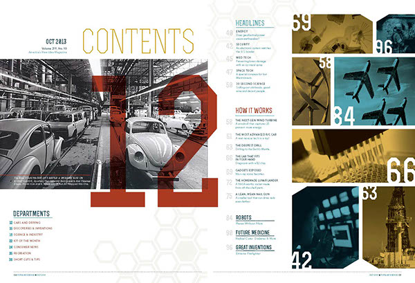 Popular Science PopSci Rebrand redesign magazine spreads science swiss influence geometry