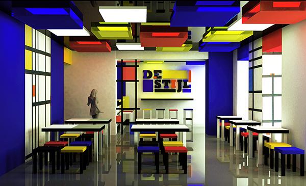 De stijl cafe on behance for De stijl architettura