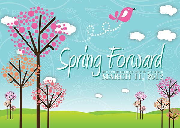 spring forward  time change postcards on behance