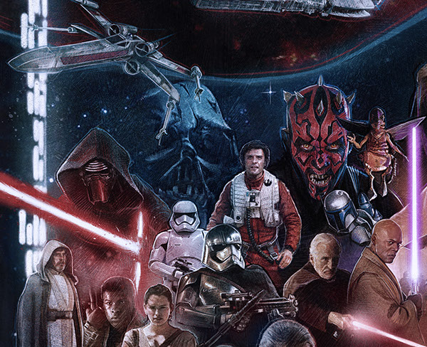 Read more about my Star Wars related work including working on Official Star Wars art in a recent Artist Spotlight on Fandango. The Star Wars Saga  Episode I   VII on Wacom Gallery