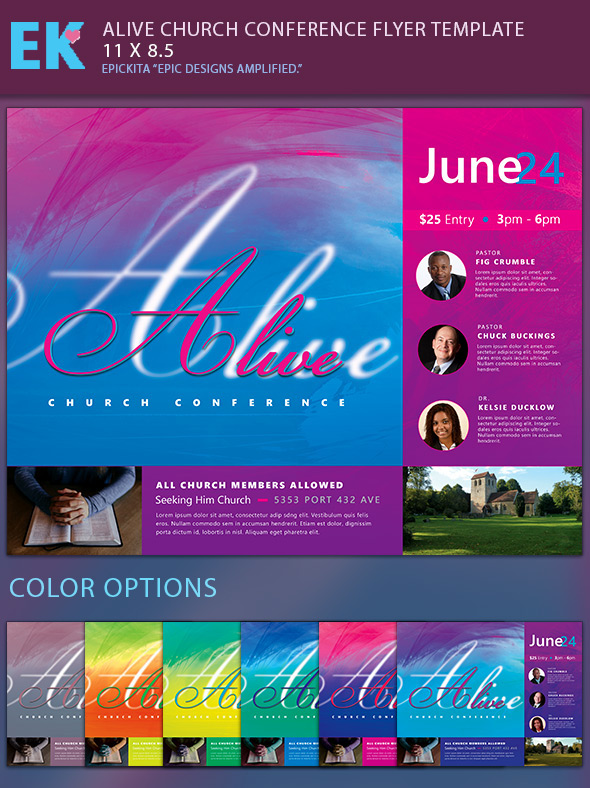 epickita alive church conference flyer template