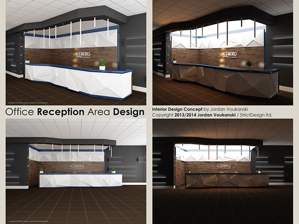 Office Reception Area Interior Design Concept Detailed Drawings