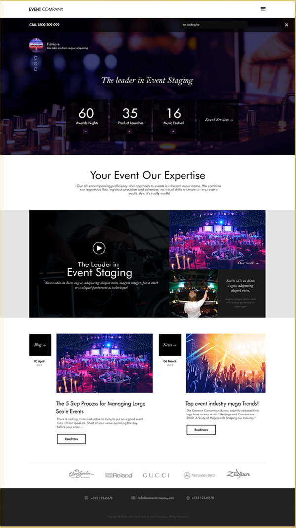 Innovative event management template events company by zemez.