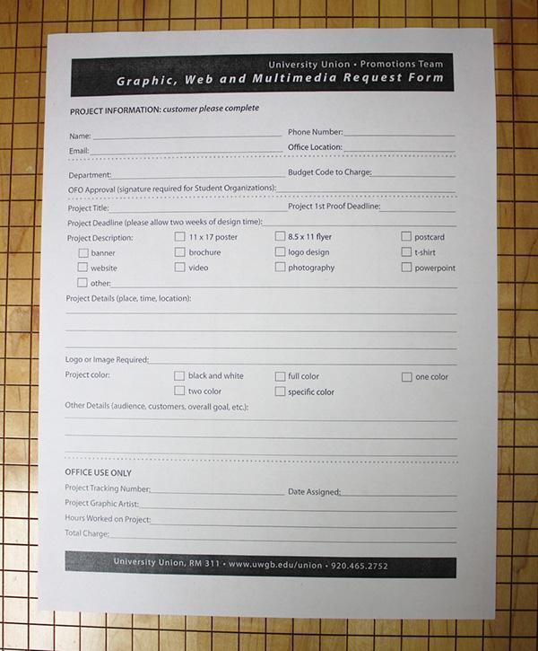 uwgb graphic request form on behance. Black Bedroom Furniture Sets. Home Design Ideas