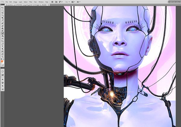 tutorial advanced photoshop Workshop Digital Creation photoshop art design character designcyborg robot android female robot Fembot bjork magazine editorial Pictorial