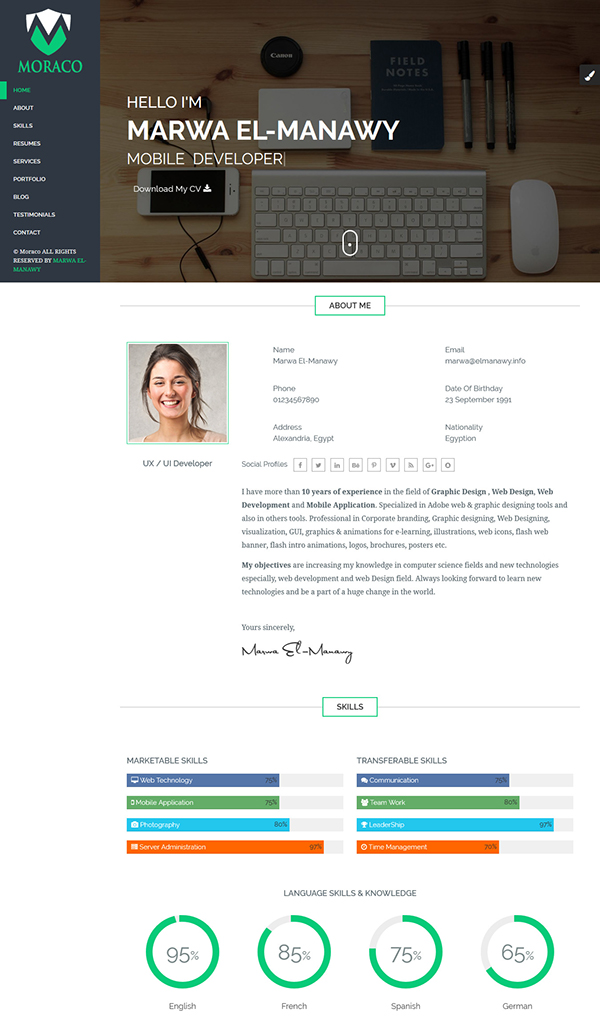 Moraco personal vcard resume html template on pantone canvas gallery moraco personal vcard resume html template maxwellsz