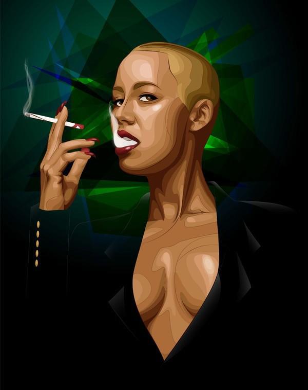 Amber rose model female smoking