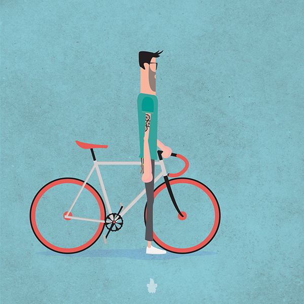 fixie Bike flat Hipster Urban