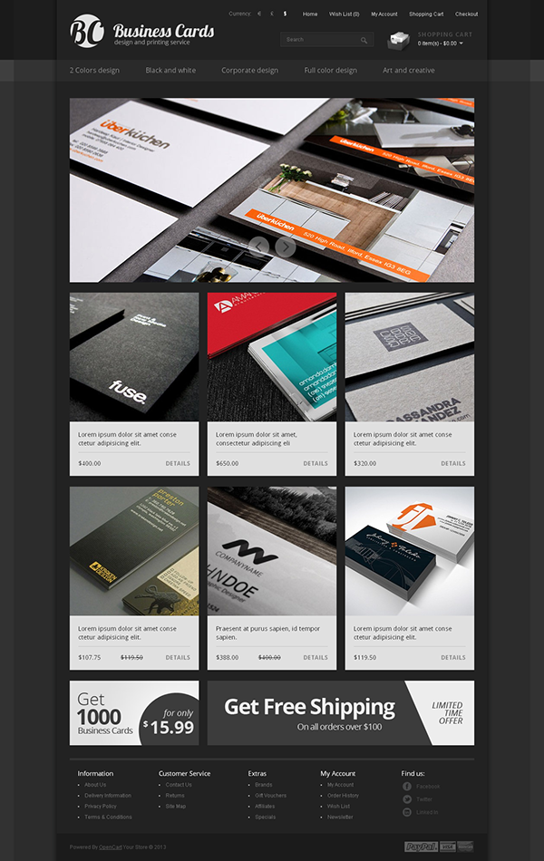 Business Cards Design & Printing Service OpenCart Theme on Behance