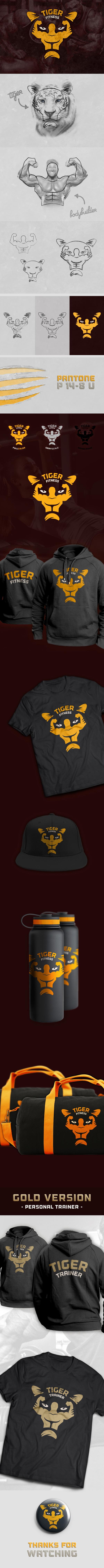fitness gym bodybuilder trainer logo brand Logotype identity corporate apparel Logo Design visual identity BodyBuilding tiger sport