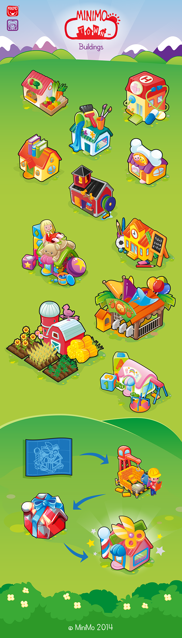 minimo town game children buildings Game Assets colorful kids