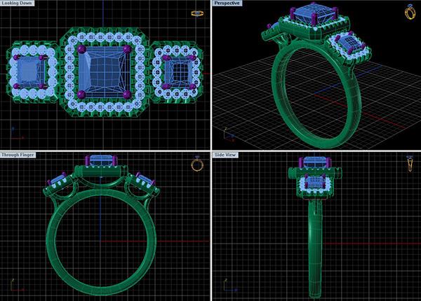 Jared custom: 3-Halo Ring on SCAD Portfolios