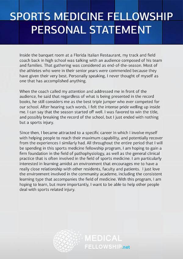Sports Medicine Fellowship Personal Statement Sample on Pantone ...