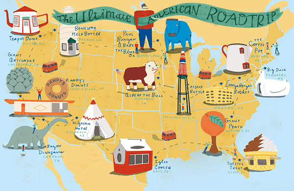 Road Trip Map The Ultimate American Roadtrip Map on Behance Road Trip Map