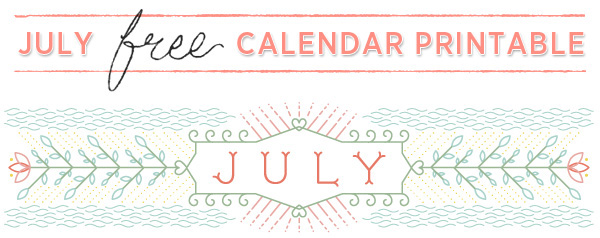 Vector Line Illustration & July 2014 Calendar