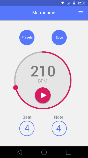 motion interaction material minimalistic android smartwatch metronome