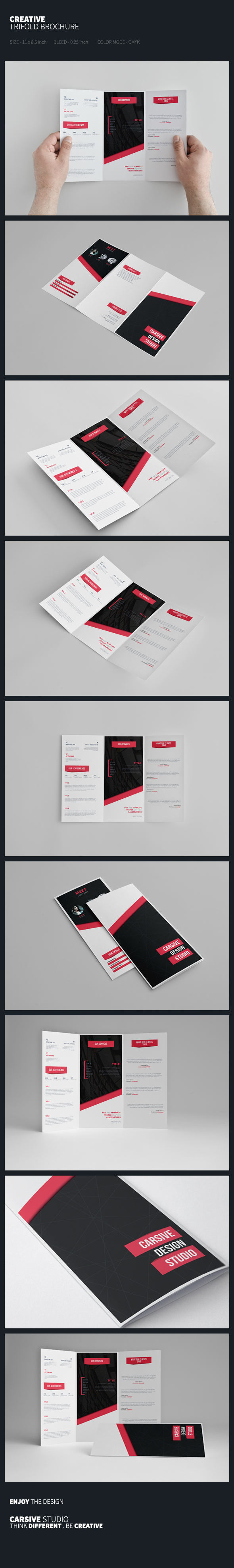 brochure template trifold clean sleek White print black abstract achievement creative corporate