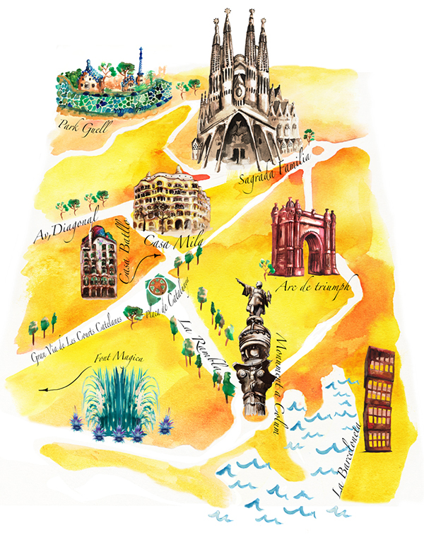 Illustrated Map of Barcelona on Behance